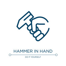 Hammer In Hand Icon. Linear Ve...