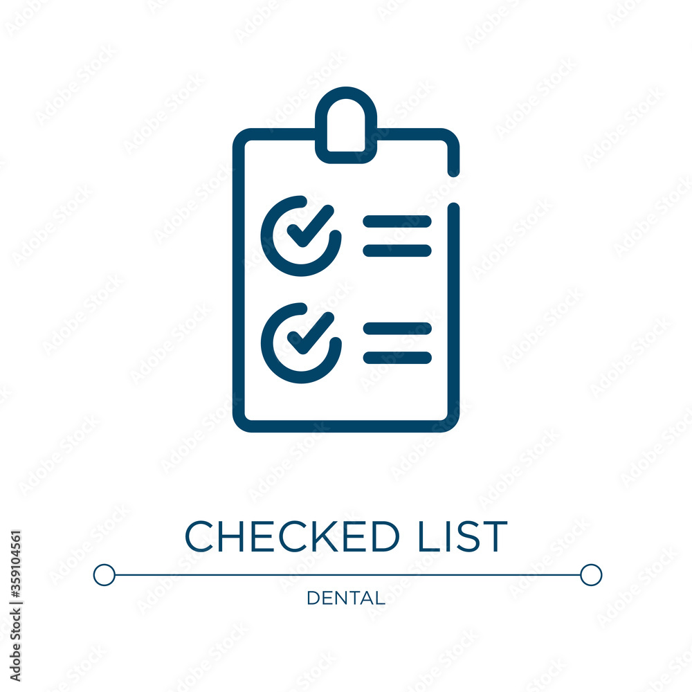 Fototapeta Checked list icon. Linear vector illustration from health collection. Outline checked list icon vector. Thin line symbol for use on web and mobile apps, logo, print media.