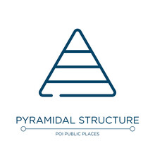 Pyramidal Structure Icon. Linear Vector Illustration From Laundry Instructions Collection. Outline Pyramidal Structure Icon Vector. Thin Line Symbol For Use On Web And Mobile Apps, Logo, Print Media.