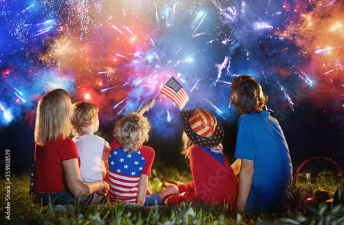 American family on Independence Day. 4th of July. - 359108519