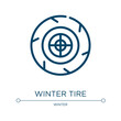 Winter tire icon. Linear vector illustration from winter collection. Outline winter tire icon vector. Thin line symbol for use on web and mobile apps, logo, print media.