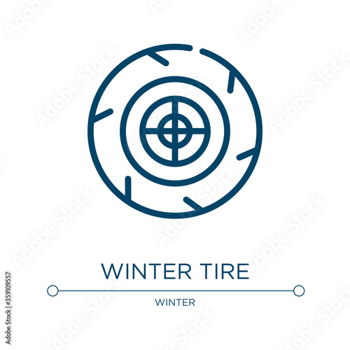 Fototapeta Winter tire icon. Linear vector illustration from winter collection. Outline winter tire icon vector. Thin line symbol for use on web and mobile apps, logo, print media. obraz