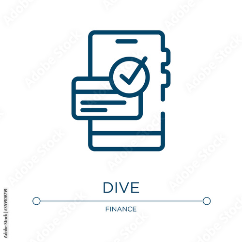 Dive icon. Linear vector illustration from payment collection. Outline dive icon vector. Thin line symbol for use on web and mobile apps, logo, print media. Wall mural