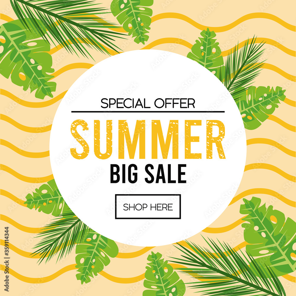 Fototapeta summer holidays sale poster with circular frame