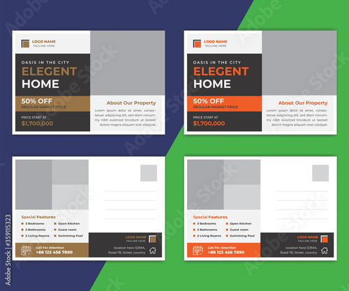 Real estate postcard template design Slika na platnu