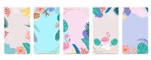 Cute Background For Social Media.Set Of Instagram Story With Flower,leaf,summer
