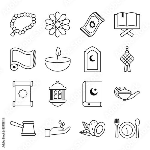 Eid mubarak line style icon set vector design Canvas-taulu