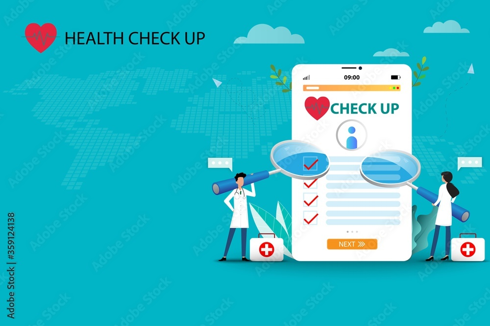 Fototapeta Concept of medical health check up, two doctors are holding a big magnifying glass and focus on a big screen of tablet that contain health checklist to treat the patients in green color background.