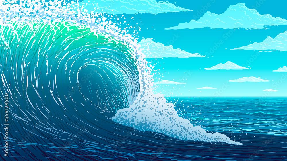Fototapeta Vector illustration. Big ocean wave.