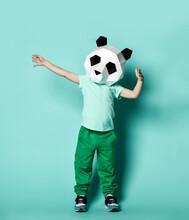 Kid Boy In Panda Mask White Bl...