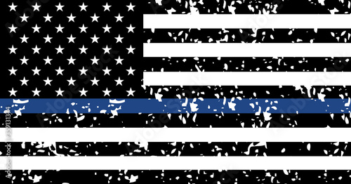 Black lives matter USA support flag,  blue line textured symbol Canvas-taulu