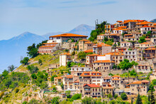 It's Aerial View Of Arachova, Greece. A Village On The Green Slopes Of Parnassus Mountains, Greece