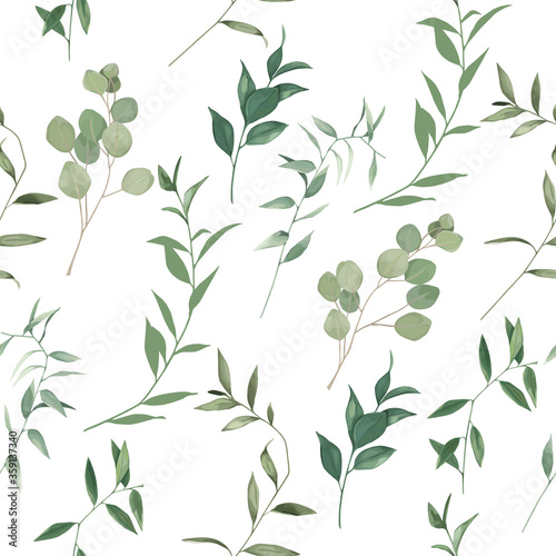 Foto Organic herbal seamless pattern with eucalyptus branches