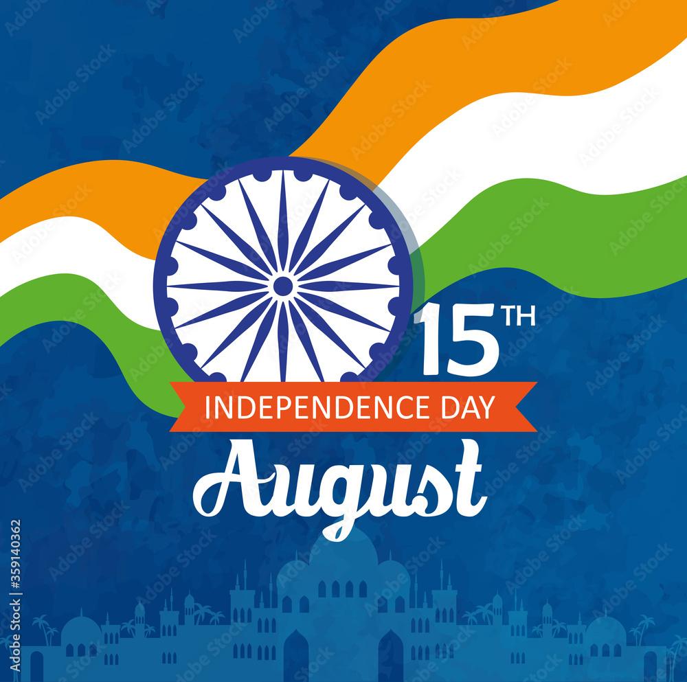 Fototapeta indian happy independence day, celebration 15 august, with ashoka wheel decoration vector illustration design