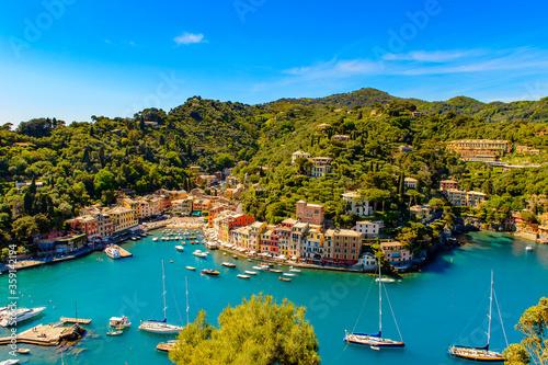 Fotografering It's Aerial view of Portofino, is an Italian fishing village, Genoa province, Italy