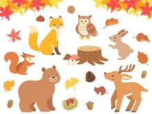 秋の森と動物達のイラ...