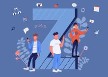 Gen Z Communication Flat Concept Vector Illustration