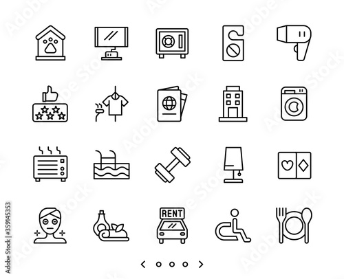 Photo hotel facility and service line icons set