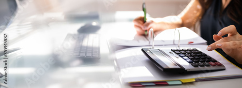 Photo Chartered Accountant Hand Calculating Tax