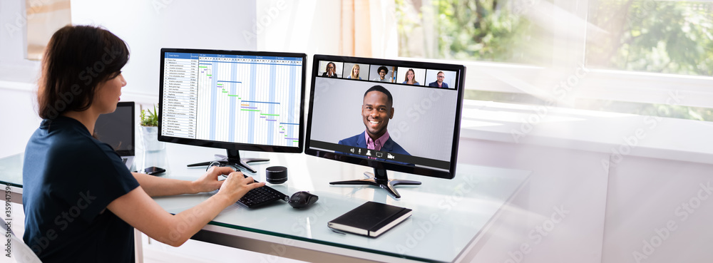 Fototapeta Online Video Conference Planning Call