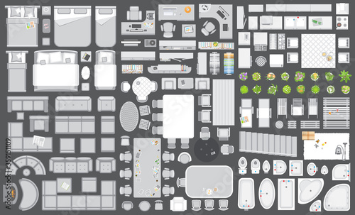 Fototapeta Icons set of interior. Furniture top view. Elements for the floor plan. (view from above). Furniture and elements for living room, bedroom, kitchen, bathroom, office. obraz