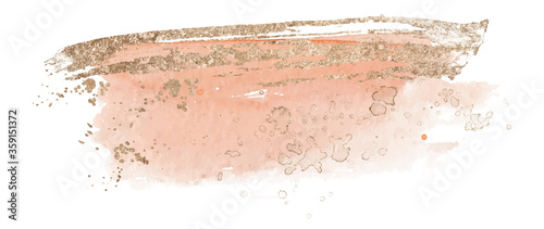 Photographie Abstract watercolor pink and gold shapes on white background