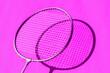 canvas print picture - Imagen moderna y colorida de un set de badminton con raquetas y proyectil de plumas blanco