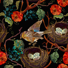 Embroidery. Wild Roses, Birds,...