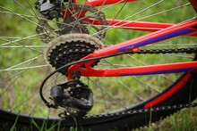 Used Red Bicycle Chain Gear Se...