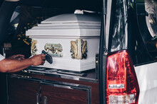 Close Up Of A Casket Loaded In...