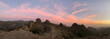 Sunset and pink sky panorama at Roque Nublo