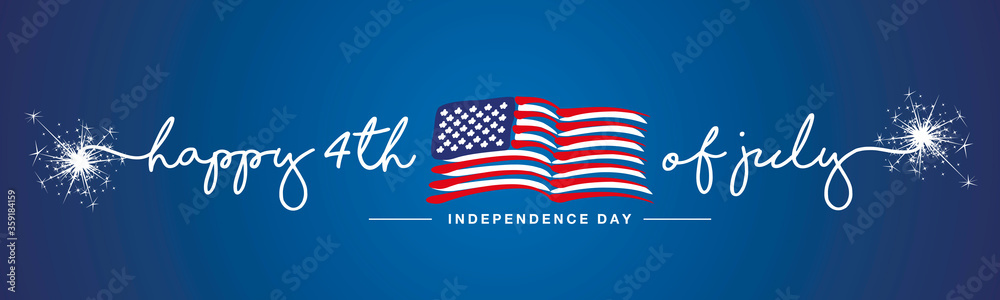 Fototapeta Happy 4th of july Independence day firework handwritten typography text USA abstract wavy flag blue background banner