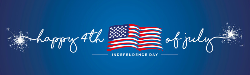 Obraz na Plexi Formuła 1 Happy 4th of july Independence day firework handwritten typography text USA abstract wavy flag blue background banner