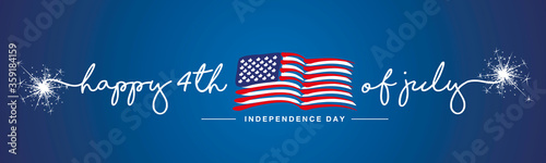 Happy 4th of july Independence day firework handwritten typography text USA abstract wavy flag blue background banner - 359184159