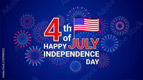 Fotografie, Tablou Vector 4th July Happy Independence Day template with flag of USA and festive fir