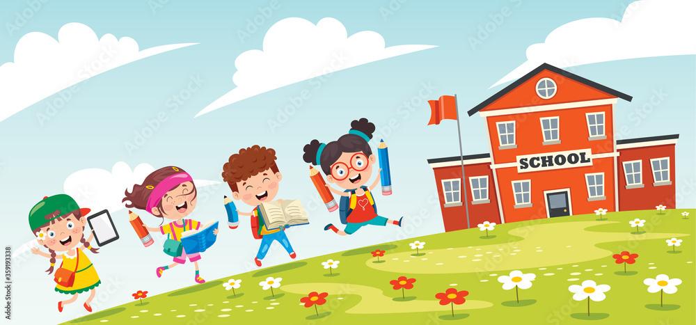 Fototapeta Little Students Going To School