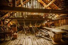 Interior Of Old Wooden Shed Wi...