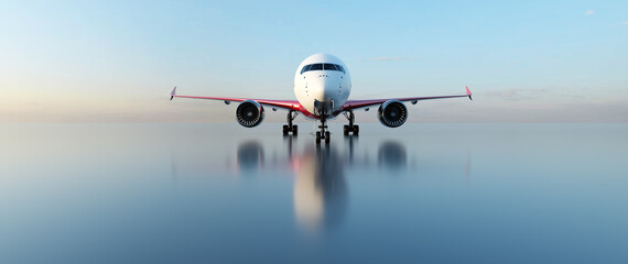 Airplane on runway at sunset. Passenger aircraft, commercial airline.