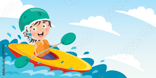 Photo Cartoon Character With A Canoe