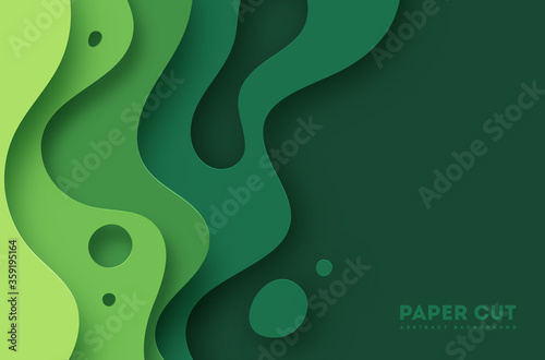 Obrazy zielone  green-abstract-paper-carve-background-paper-art-style-of-nature-concept-design-vector-illu