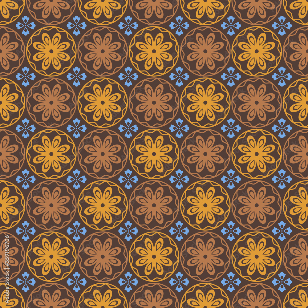 Retro vintage Chinese traditional pattern seamless background brown round curve cross flower kaleidoscope