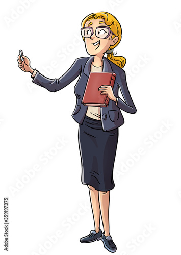 School teacher with book and chalk in hand