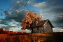 Hut On Top Of A Hill In The Fall