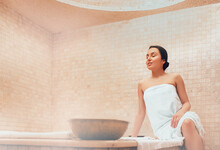 Attractive Woman Relaxing At Hammam. Body Recovery At Hamam, Traditional Turkish Bath