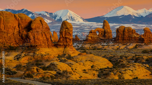 Fotografering Arches National Park  at sunset