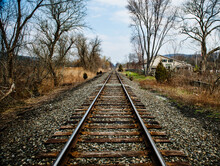 Empty Train Tracks In Autumn, New York State