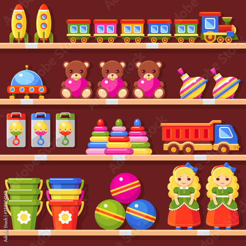 Store shelves with toys. Kid's shop interior. Doll, bear, bucket, ball, rattle, toy pyramid, truck, ufo, rocket, whirligig and train set. Vector colorful illustration #359204167