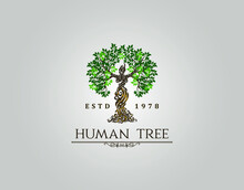 Abstract Human Tree Logo. Uniq...