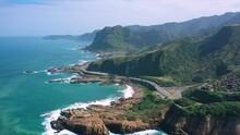 Aerial View 4k Footage By Drone Of Nanya Rock, Coast Sea At Jioufen, Taiwan.