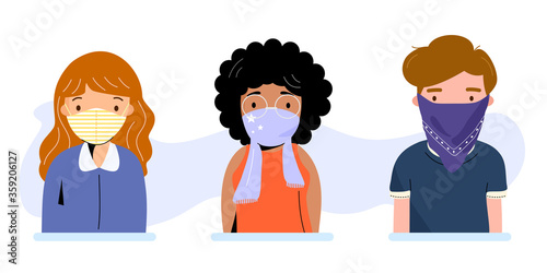 Valokuva People wearing cloth face covering or washable fabric face mask to help slow spread of Covid19 or Coronavirus